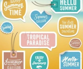 Summer stickers with tags vectors set 03
