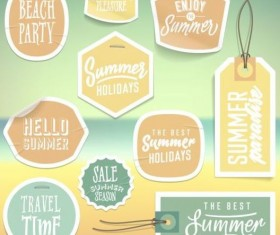 Summer stickers with tags vectors set 04