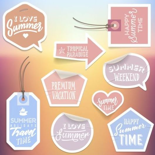 Summer stickers with tags vectors set 05