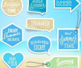 Summer stickers with tags vectors set 06