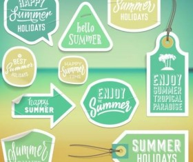 Summer stickers with tags vectors set 07