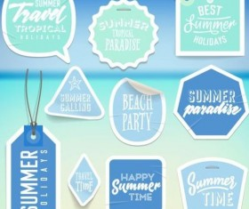 Summer stickers with tags vectors set 08