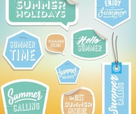 Summer stickers with tags vectors set 09