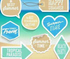 Summer stickers with tags vectors set 10