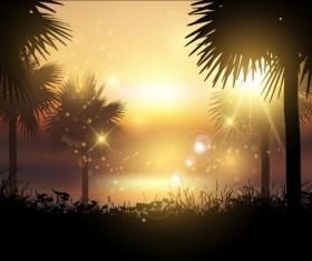 Summer sunset landscape vectors material