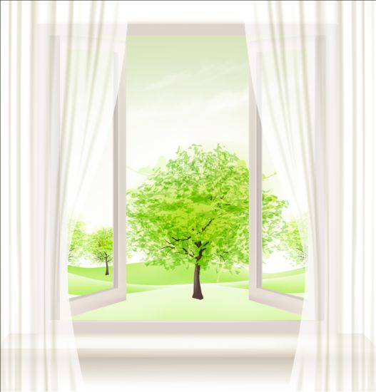 Summer windows and green trees vector background