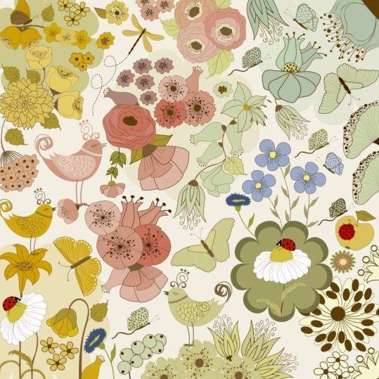 Various flower seamless pattern vector set 04