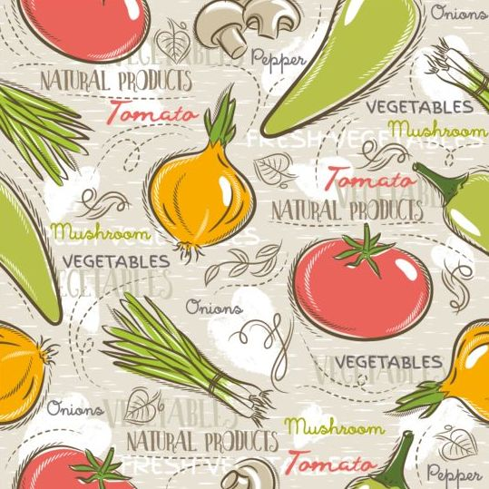 Vegetable seamless pattern hand drawn vector 02