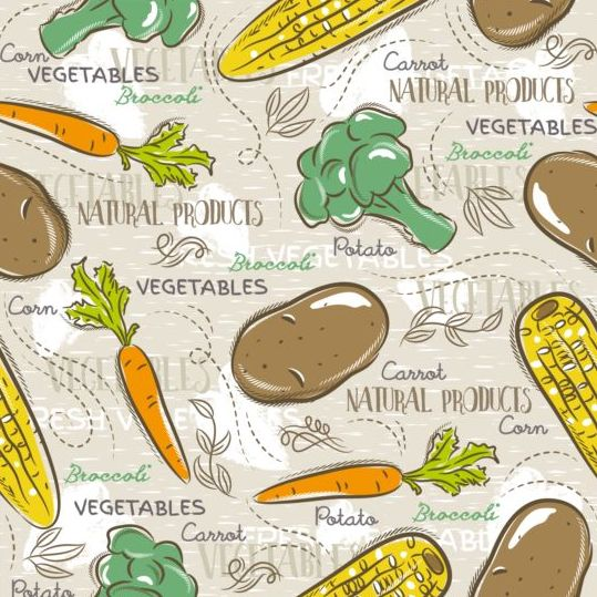 Vegetable seamless pattern hand drawn vector 03