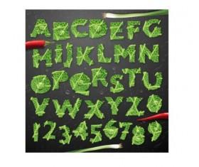 Vegetables leaves alphabet vector set