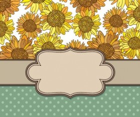 Vintage frame with sunflower background vector