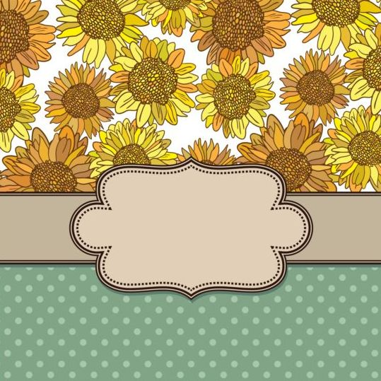 vintage frame with sunflower background vector - Sunflower Picture Frames