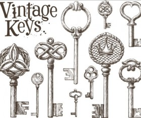 Vintage keys vector set 01