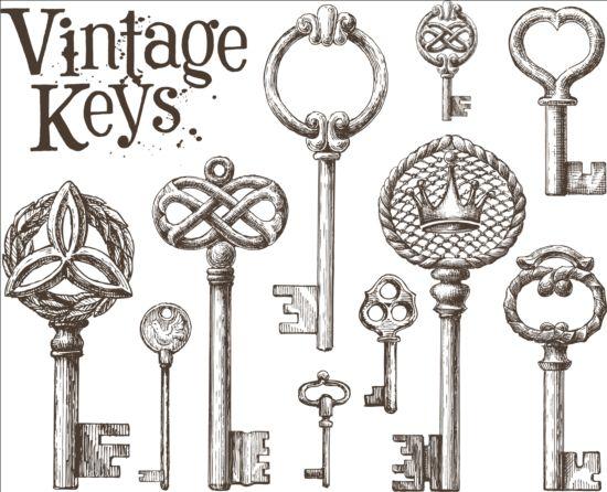 Vintage keys vector set 01