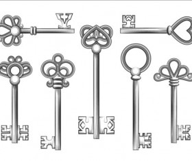 Vintage keys vector set 02