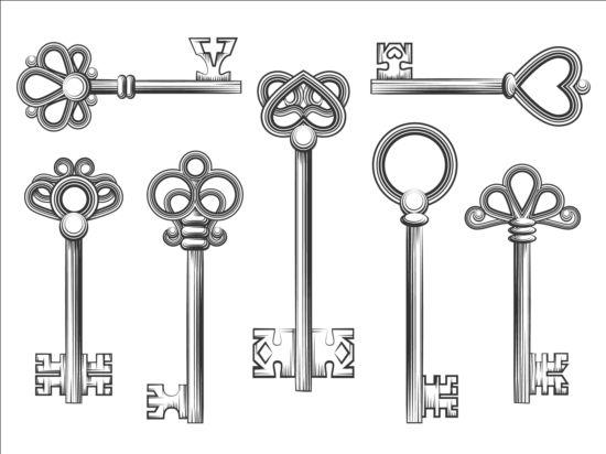 Vintage keys vector set 02