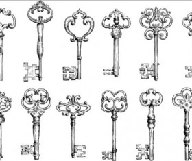 Vintage keys vector set 03
