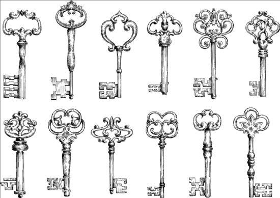 Vintage keys vector set 03