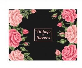Vintage pink flower frame vector