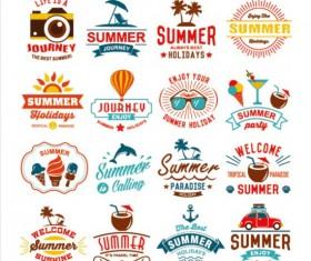 Vintage summer labels elements set 01