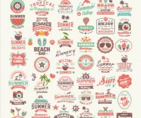 Vintage summer labels elements set 02