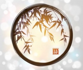 Watercolor bamboo with blurs background vector