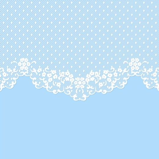 White Lace With Blue Background Vector 01 Vector