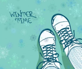 Winter woman shoes vector material