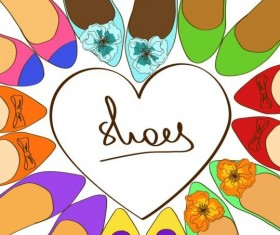 Woman shoes with heart vector