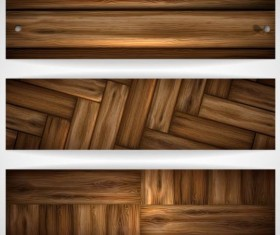 Woodboard texture banners vector set 02