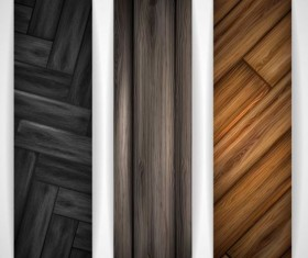 Woodboard texture banners vector set 03