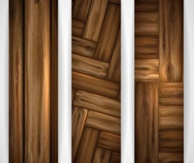 Woodboard texture banners vector set 06