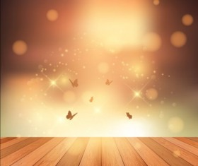 Wooden deck and sunset with butterflies vector background