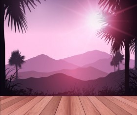 Wooden deck with tropical landscape background vector