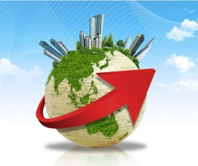 World travel psd template with red arrow