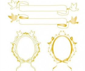 Yellow frame with border and ribbon vector