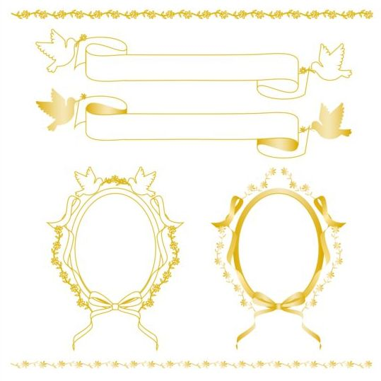 Yellow frame with border and ribbon vector free download