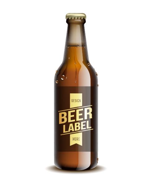 beer bottle with water drop vector