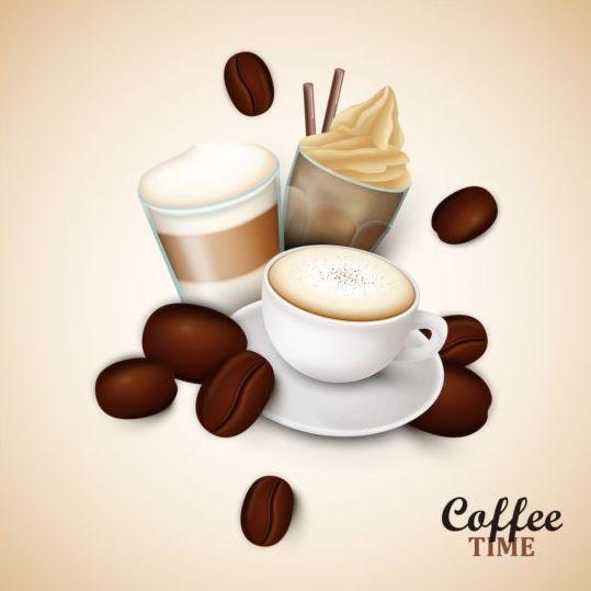 Elegant Caffee Art Background Vector 03