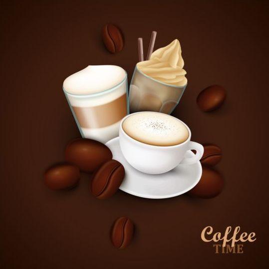 elegant caffee art background vector 04
