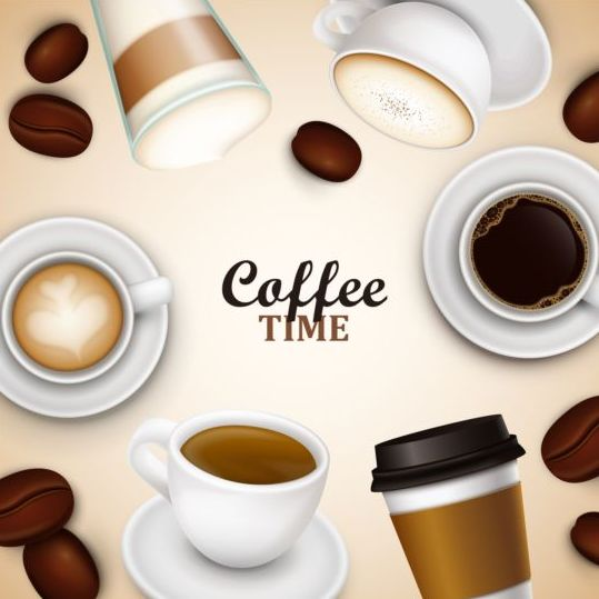 elegant caffee art background vector 07