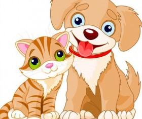 kitten and puppy vector