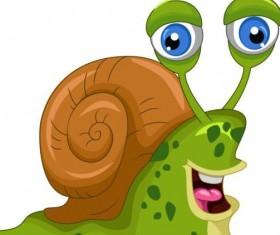 lovely cartoon snails vector 02