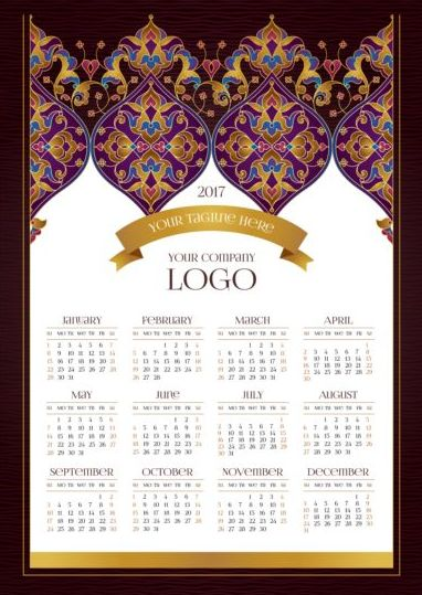 2017 calendars with floral decor pattern vector 01