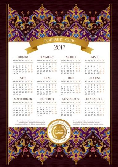 2017 calendars with floral decor pattern vector 02