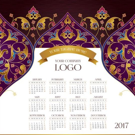 2017 calendars with floral decor pattern vector 03