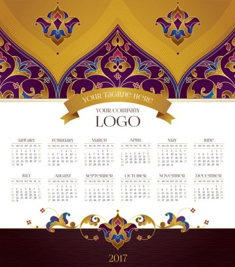 2017 calendars with floral decor pattern vector 04