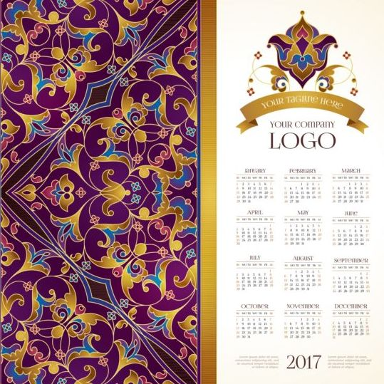 2017 calendars with floral decor pattern vector 05