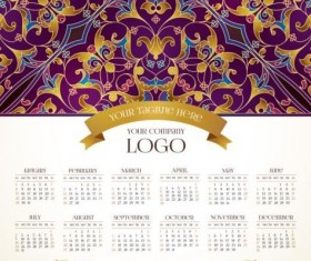 2017 calendars with floral decor pattern vector 07