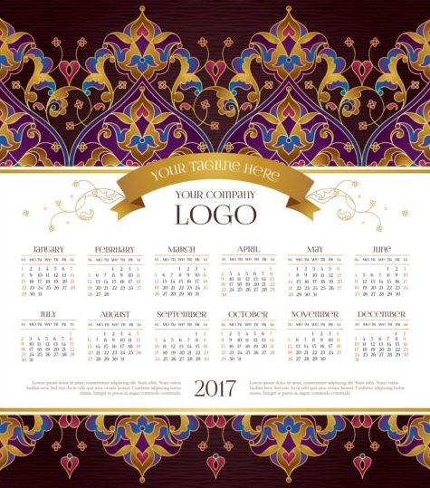 2017 calendars with floral decor pattern vector 08